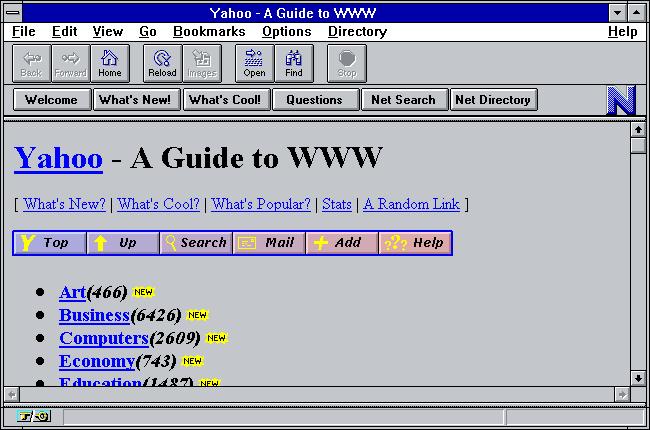Netscape Navigator montrant une page Web Yahoo datant d'environ 1994.