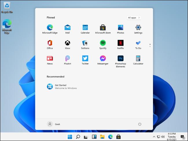 Fuite du menu Démarrer de Windows 11