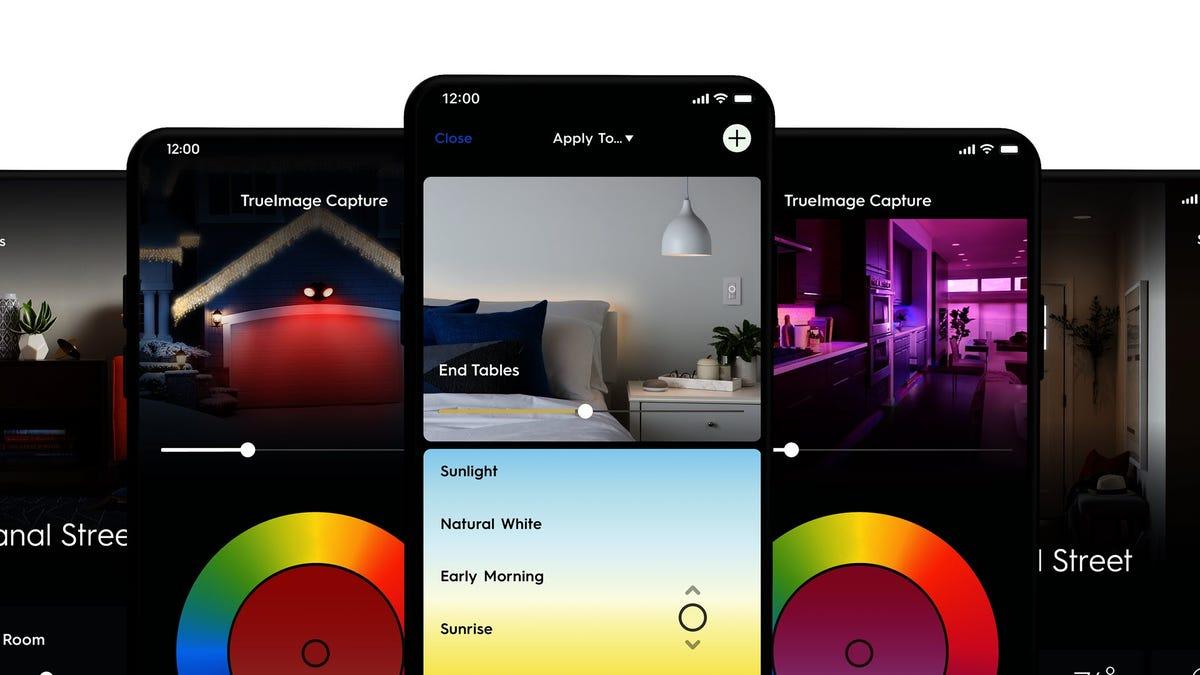 Une série d'images de la nouvelle application Cync
