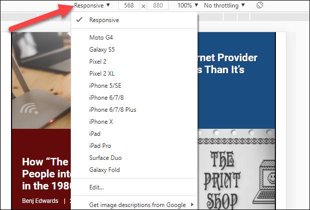 Cliquez sur le menu déroulant pour changer d'appareil.