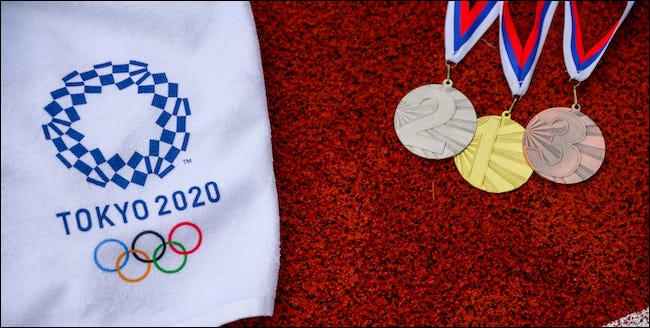 Logo Tokyo 2020 avec métaux or, argent et bronze