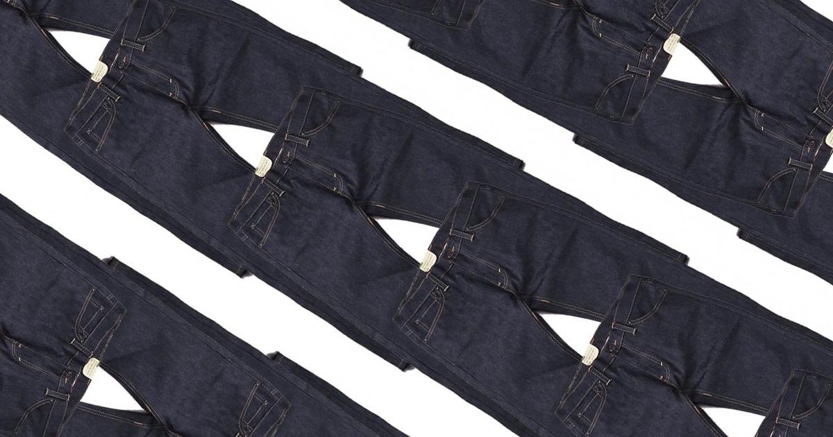 pantalons en denim superposés en diagonale