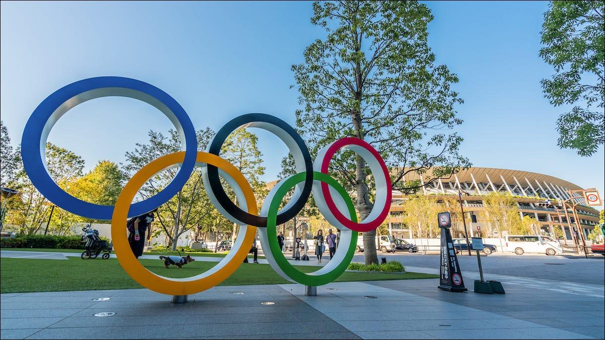 Les anneaux olympiques à Tokyo Japon