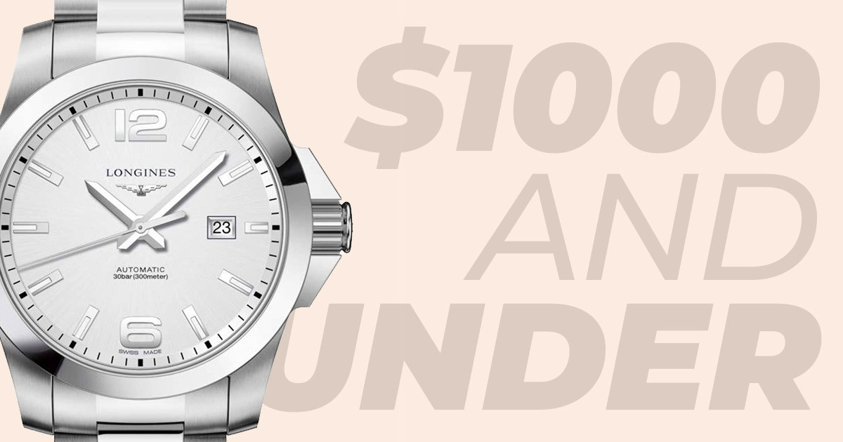 1000 et moins en-tête avec montre en argent
